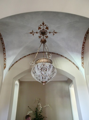 Old World - Medallion and colorwash on Vaulted Ceiling