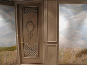 Old World - Monet inspired Vestibule with accent mural on door