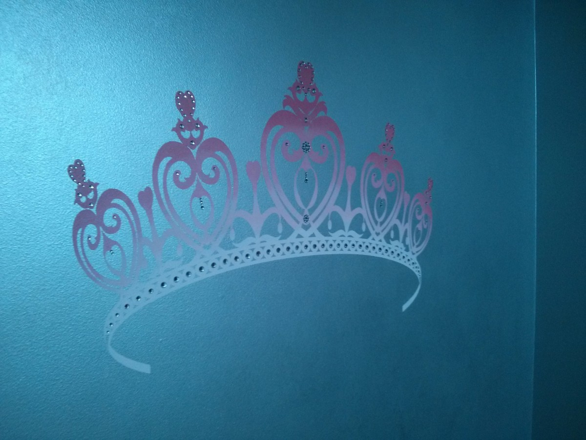 Kids Mural - Princess Tiara with Rhinestones on Metallic wall