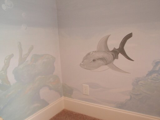 Kids Mural - Underwater shark and reef
