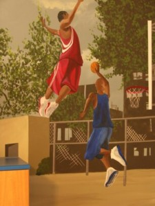 Kids Mural - Video inspired basketball mural