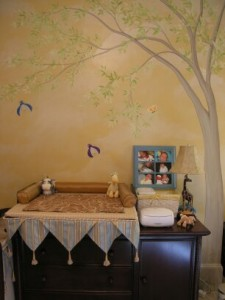 Kids Mural - Tree over Changing Table in Nursery
