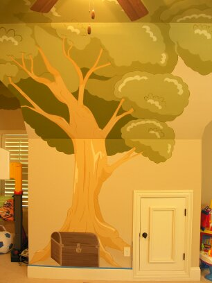 Kids Mural - Cartoon Tree with Treasure Chest