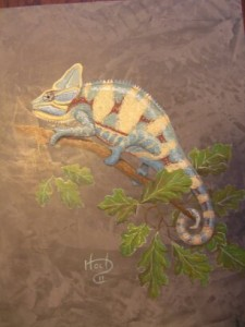Kids Mural - Veiled  Chameleon Lizard on Venetian Plaster
