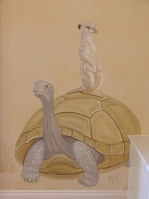 Kids Mural - Turtle and Meir Cat in Serengeti Nursery