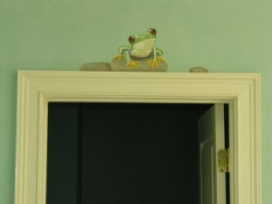 Kids Mural - Frog on Stone over Doorway in Bathroom