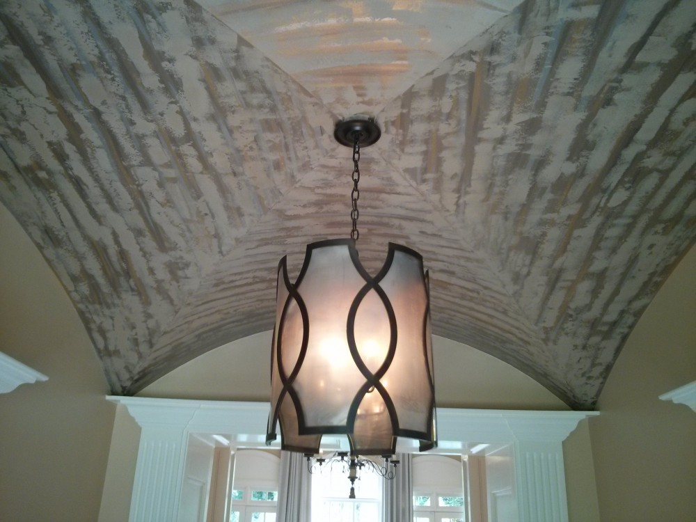 Texture - Venetian Plaster with metallic accents on ceiling