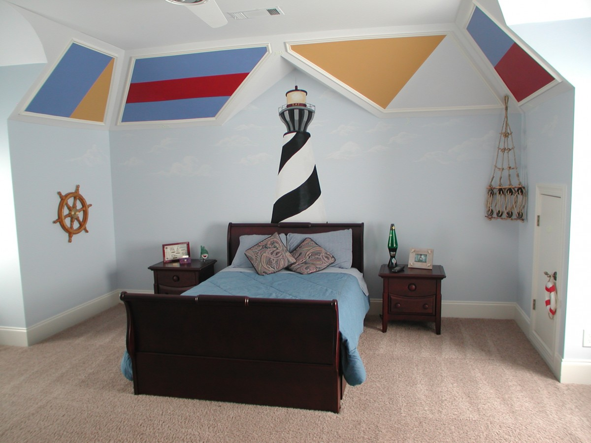 Kids Mural - Lighthouse with Nautical Signal Flags