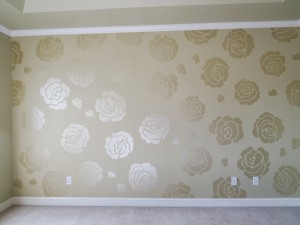 Kids Mural in a Nursery of Metallic flowers