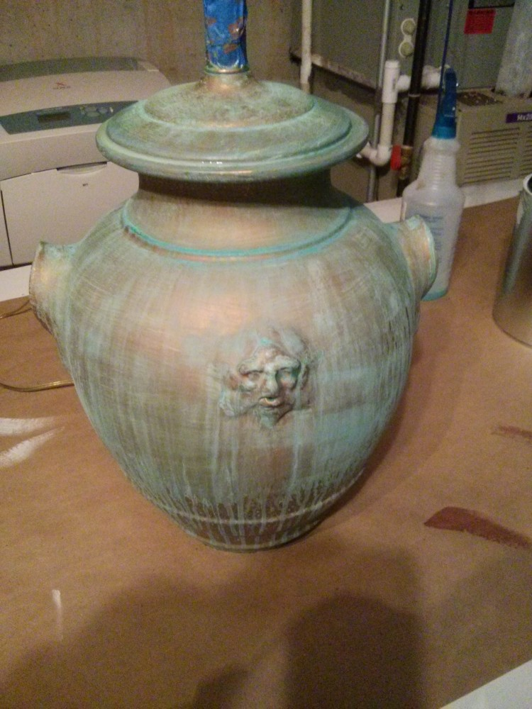 Copper Patina Glaze on Lamp Base