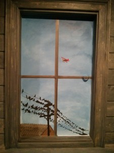 Kids Mural - Window Mural with Birds on a Powerline