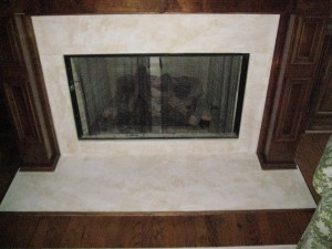 Texture - Venetian Plaster over marble fireplace