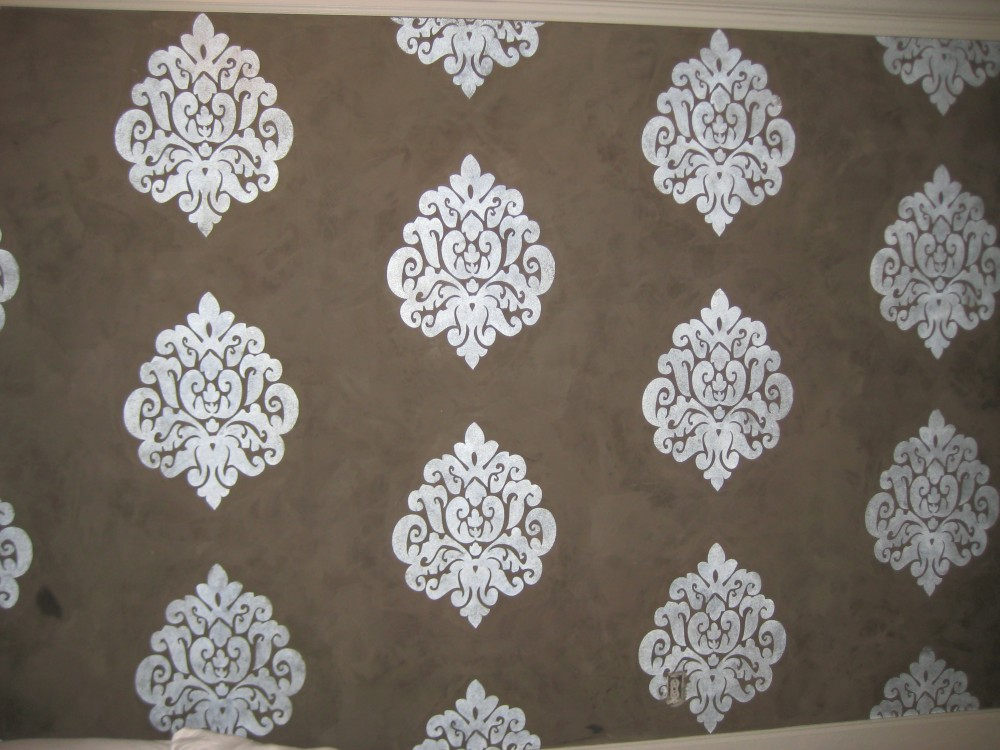 Texture - Venetian Plaster with Metallic Damask Design