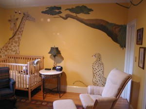 Kids Mural - Cheetah and Giraffes Nursery