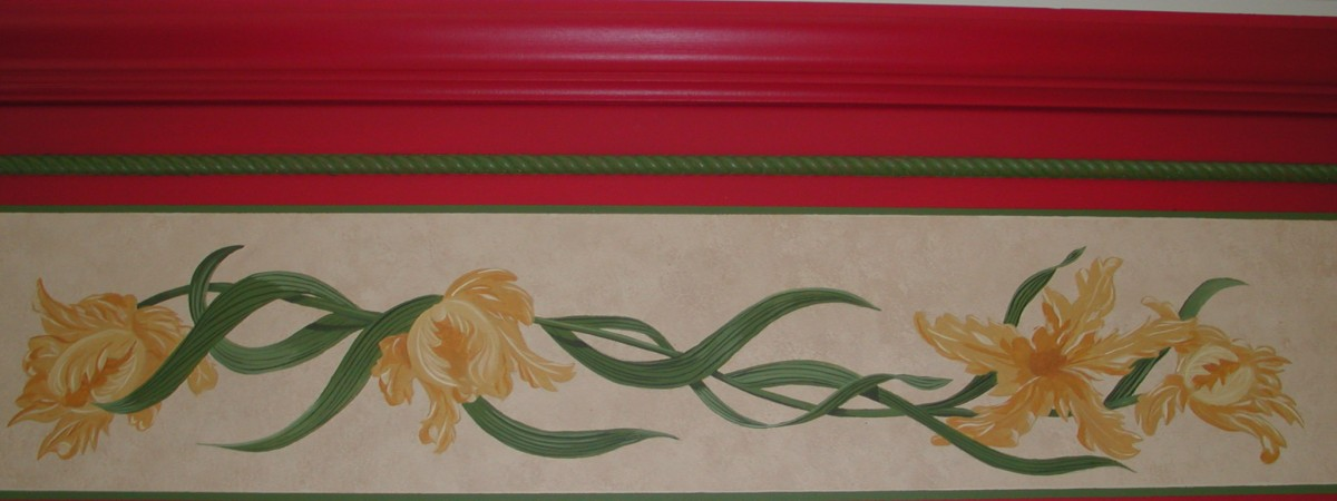 Accent - Cornice board mural of tulips