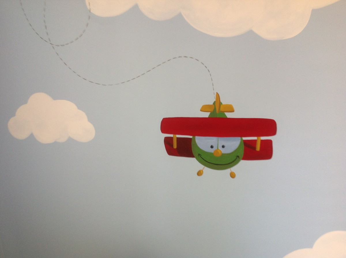Kids Mural - Fun Airplane in clouds