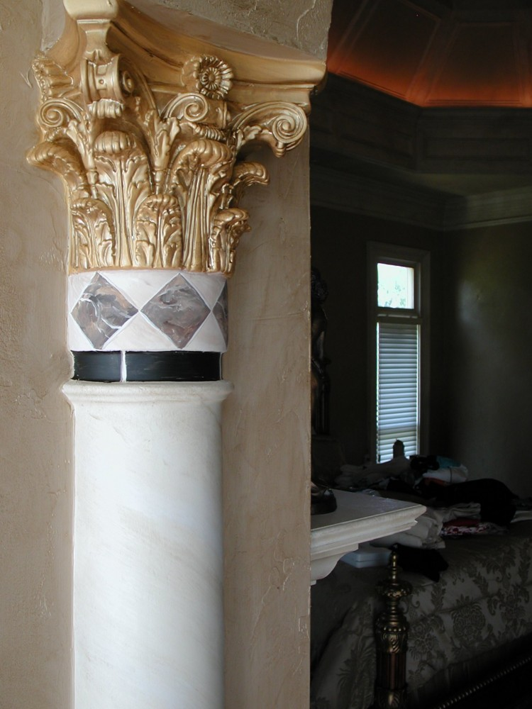 Faux Marble Column with Mitallic Capital