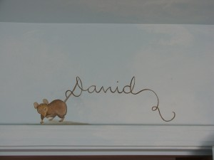 Kids Mural of Mouse and Lettering in Nursery