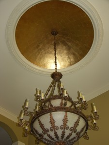 Metallic - Gold Leaf on ceiling with aged wash