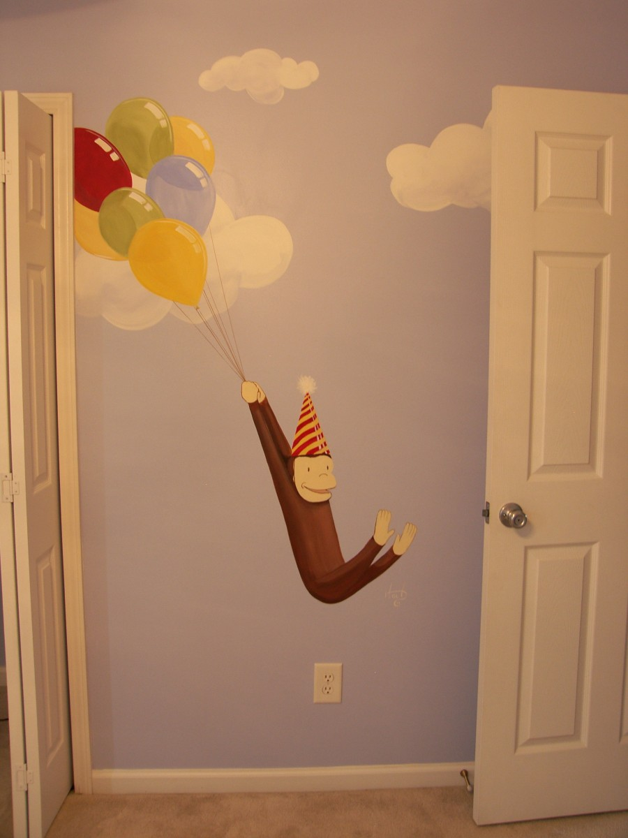 Kids Mural - Curious George with Ballons