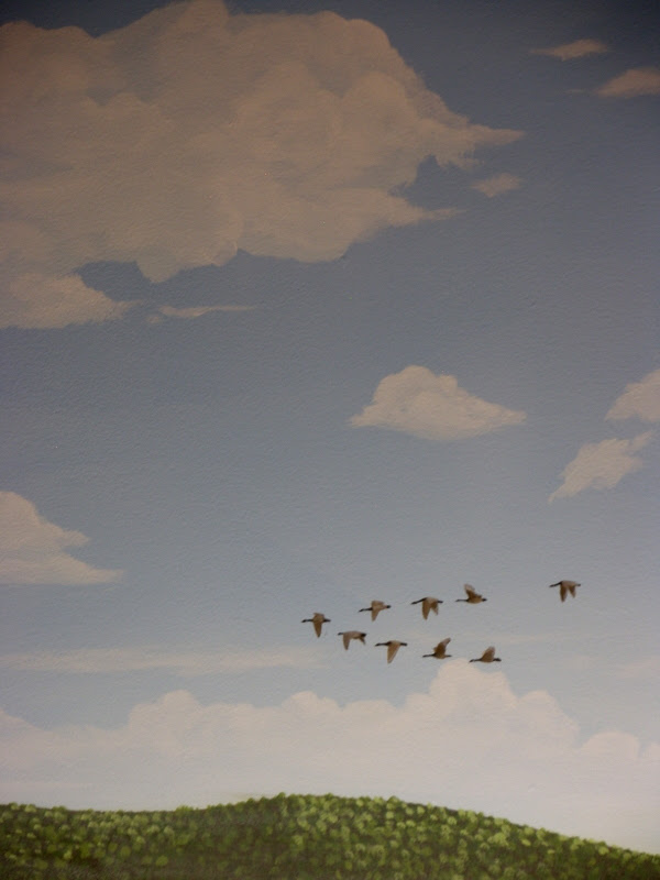 Train Backdrop of sky and geese