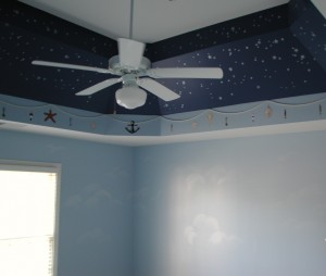 Kids Mural Night Sky with Fishing Rope and Seashells