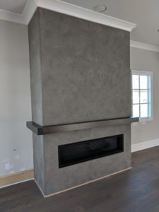 Faux Concrete fireplace